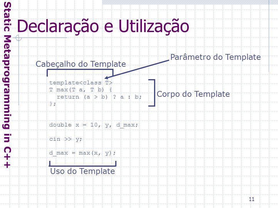 11 Declaração e Utilização Static Metaprogramming in C++ Parâmetro do Template template T max(T a, T b) { return (a > b) .