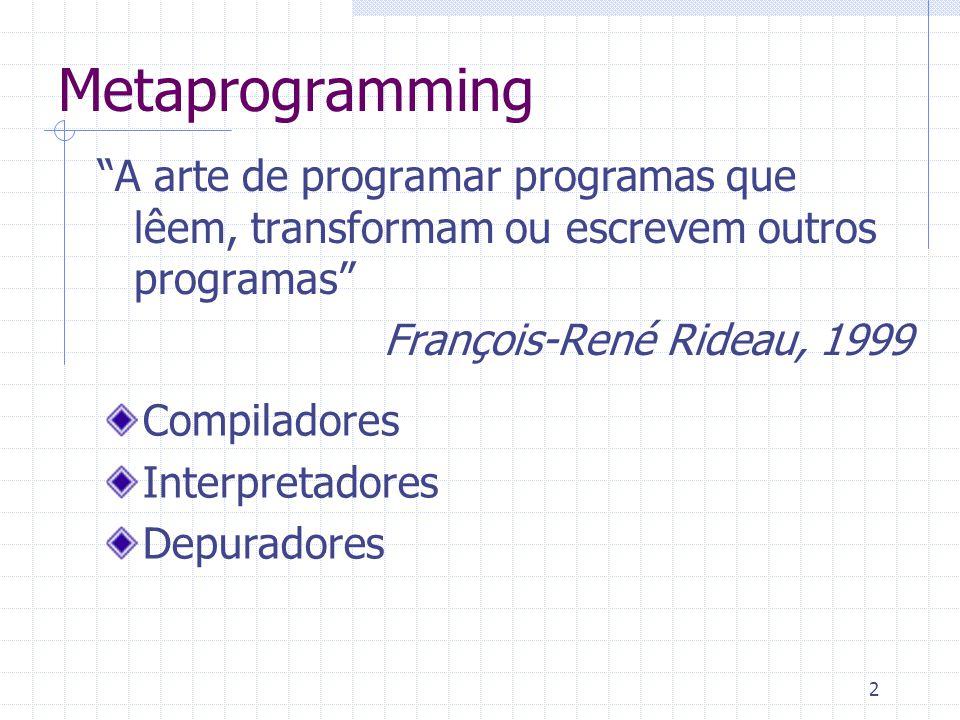 3 Classificação Entradas Saídas Metaprogramming metaprograma Interpretador Inspector Tradutor Compilador Splitter Metainterpretador Analisador de diferenças Walker Metacompilador
