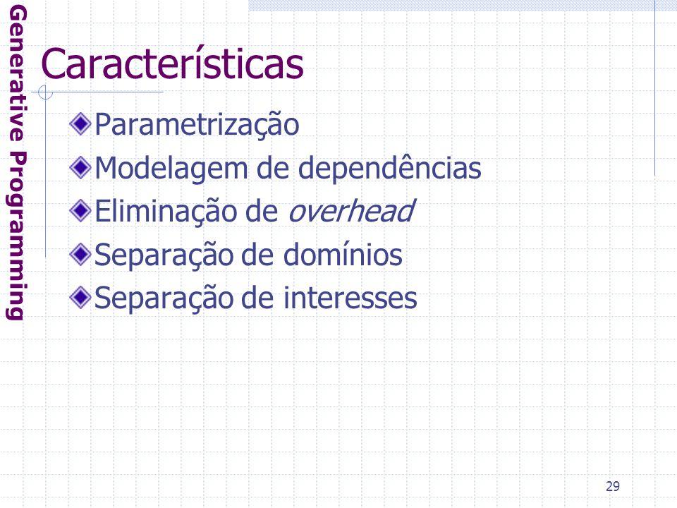 29 Características Parametrização Modelagem de dependências Eliminação de overhead Separação de domínios Separação de interesses Generative Programming