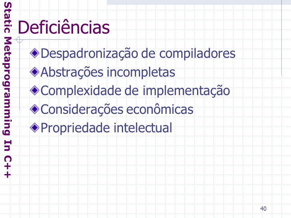 40 Deficiências Despadronização de compiladores Abstrações incompletas Complexidade de implementação Considerações econômicas Propriedade intelectual Static Metaprogramming In C++