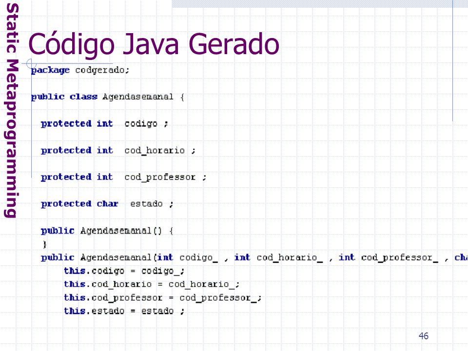 46 Código Java Gerado Static Metaprogramming