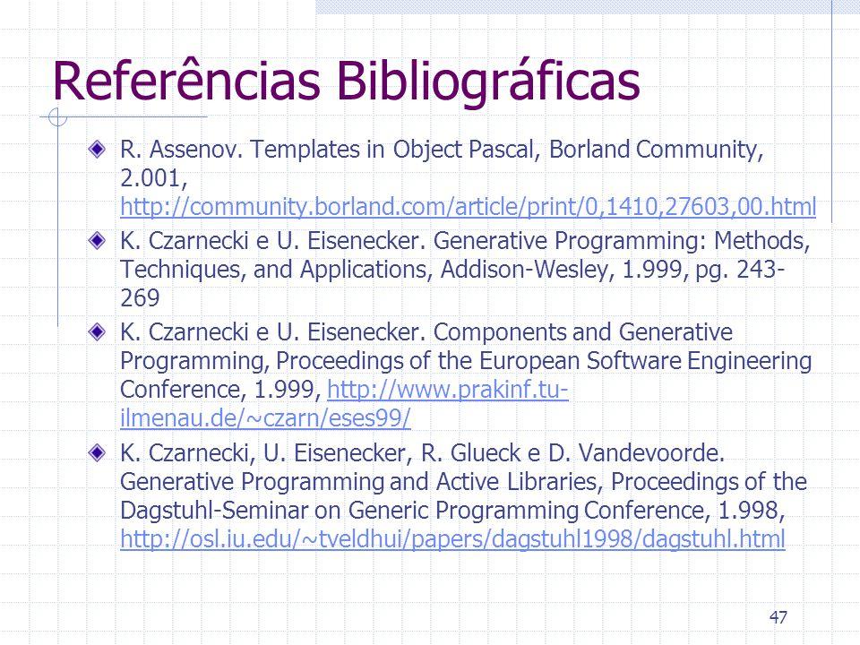 47 Referências Bibliográficas R. Assenov.