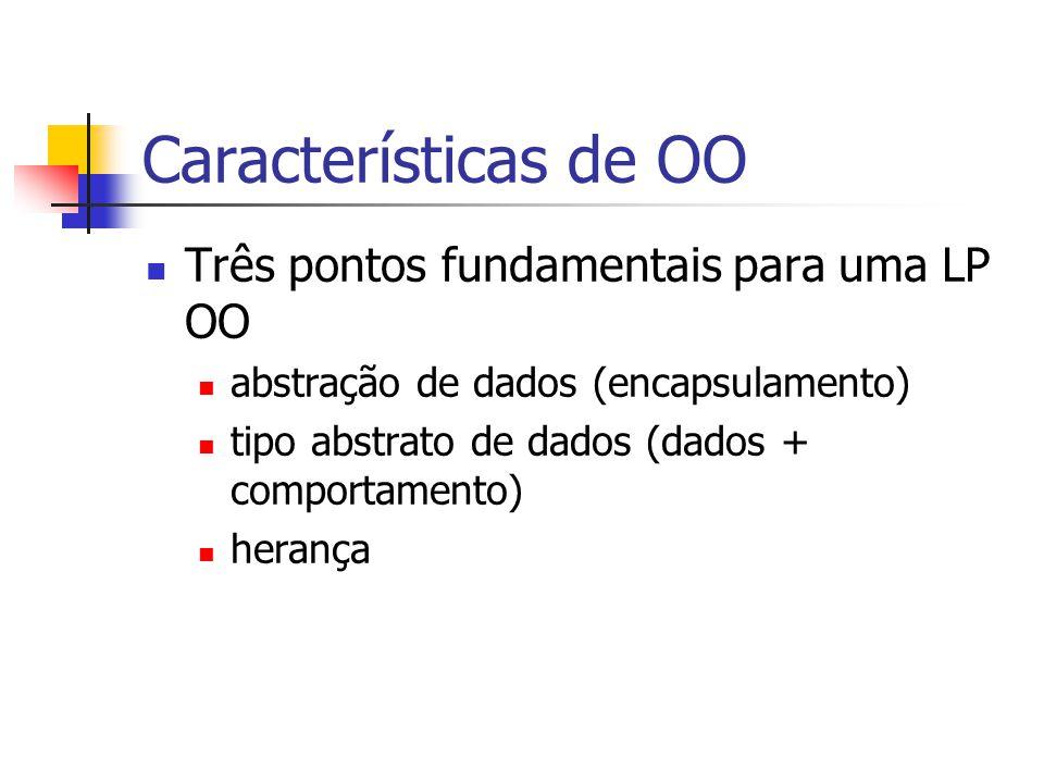 Características de OO Três pontos fundamentais para uma LP OO abstração de dados (encapsulamento) tipo abstrato de dados (dados + comportamento) herança