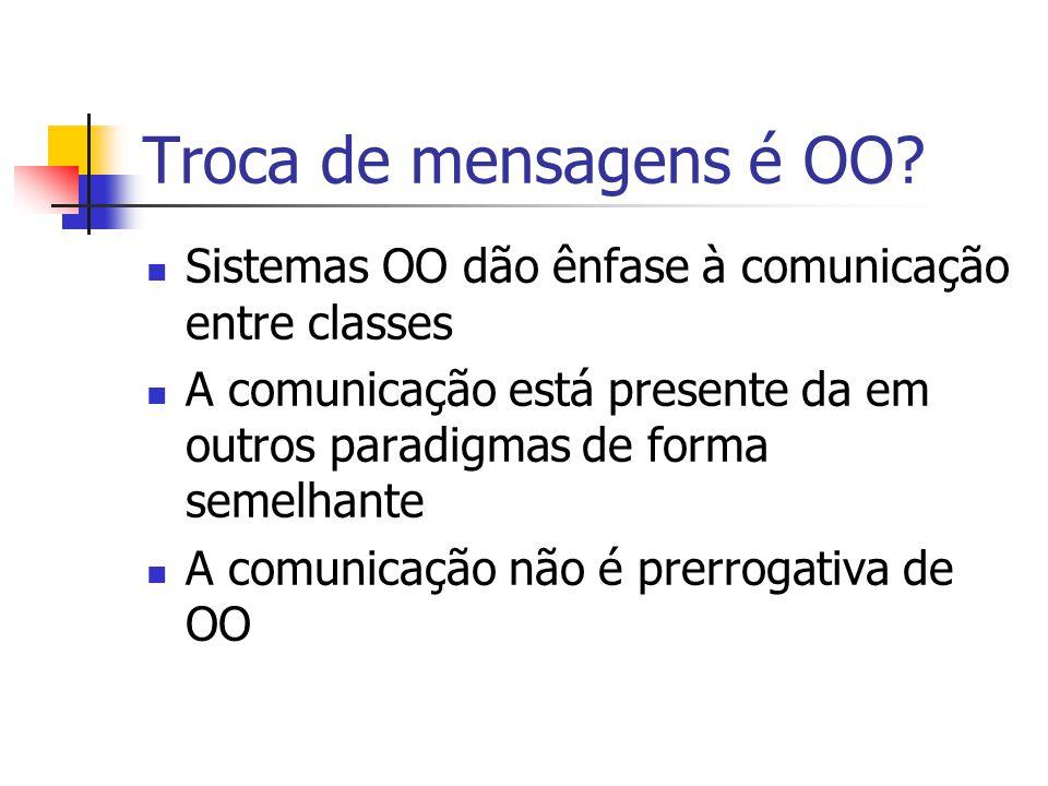 Troca de mensagens é OO? Sistemas OO dão ênfase à comunicação entre classes A comunicação está presente da em outros paradigmas de forma semelhante A