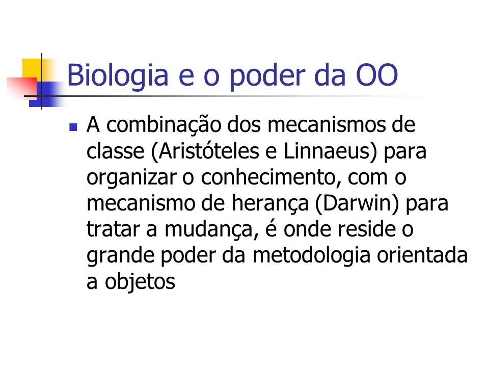 Biologia e o poder da OO A combinação dos mecanismos de classe (Aristóteles e Linnaeus) para organizar o conhecimento, com o mecanismo de herança (Darwin) para tratar a mudança, é onde reside o grande poder da metodologia orientada a objetos