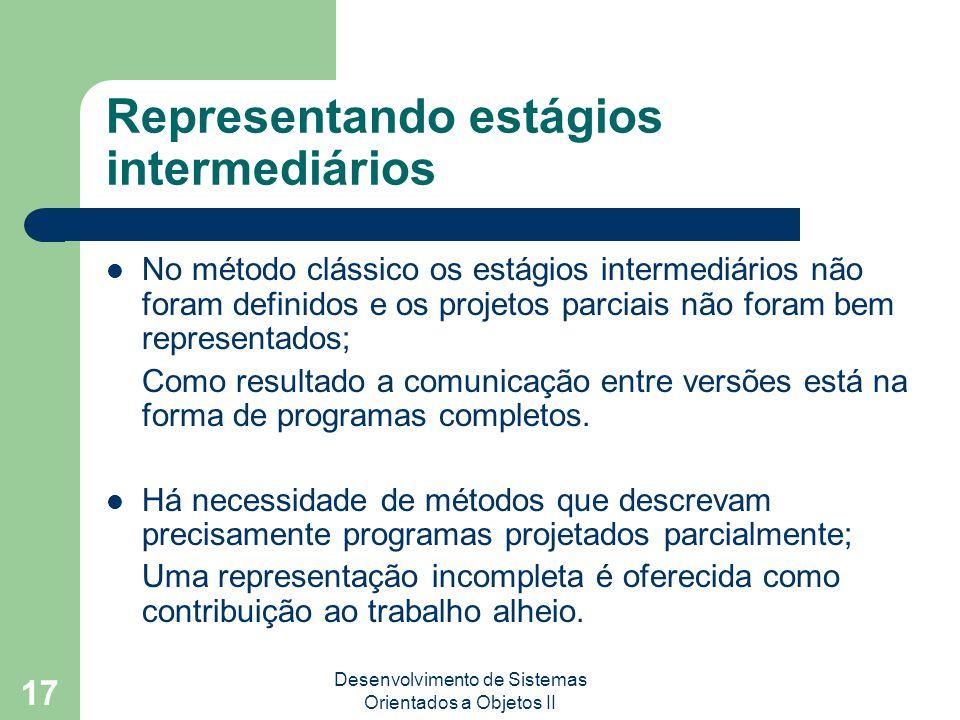 Desenvolvimento de Sistemas Orientados a Objetos II 17 Representando estágios intermediários No método clássico os estágios intermediários não foram definidos e os projetos parciais não foram bem representados; Como resultado a comunicação entre versões está na forma de programas completos.