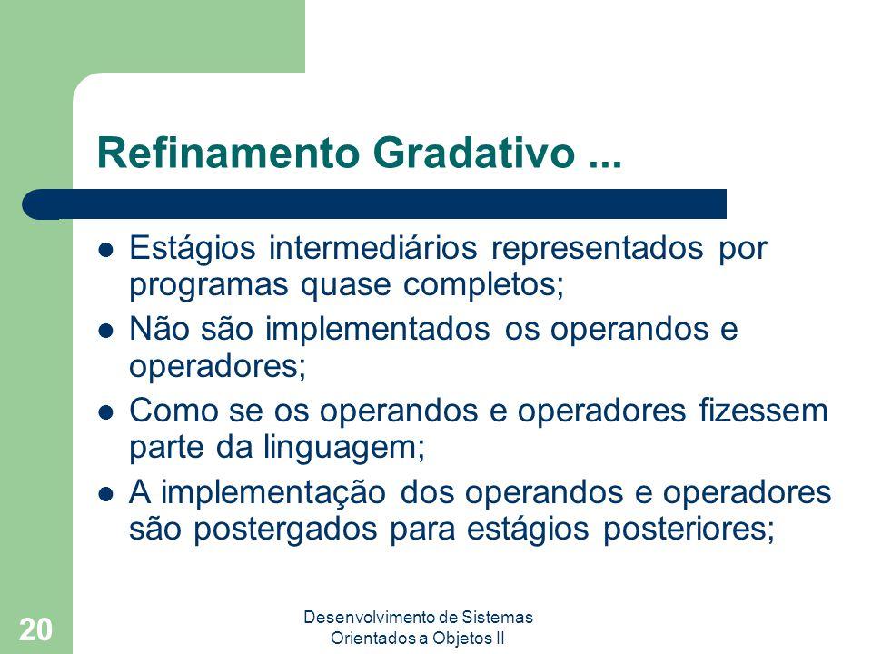 Desenvolvimento de Sistemas Orientados a Objetos II 20 Refinamento Gradativo...