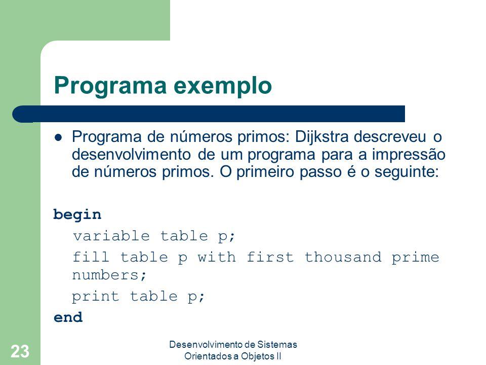 Desenvolvimento de Sistemas Orientados a Objetos II 23 Programa exemplo Programa de números primos: Dijkstra descreveu o desenvolvimento de um programa para a impressão de números primos.