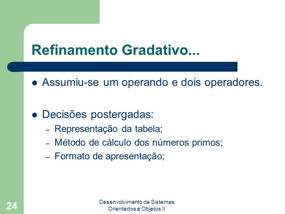 Desenvolvimento de Sistemas Orientados a Objetos II 24 Refinamento Gradativo...