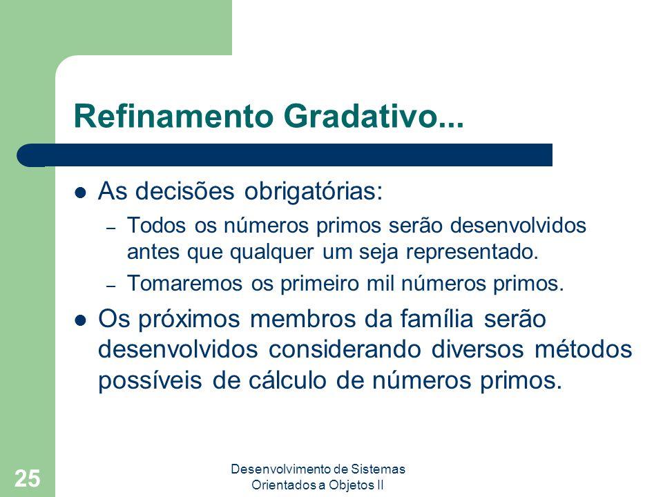 Desenvolvimento de Sistemas Orientados a Objetos II 25 Refinamento Gradativo...