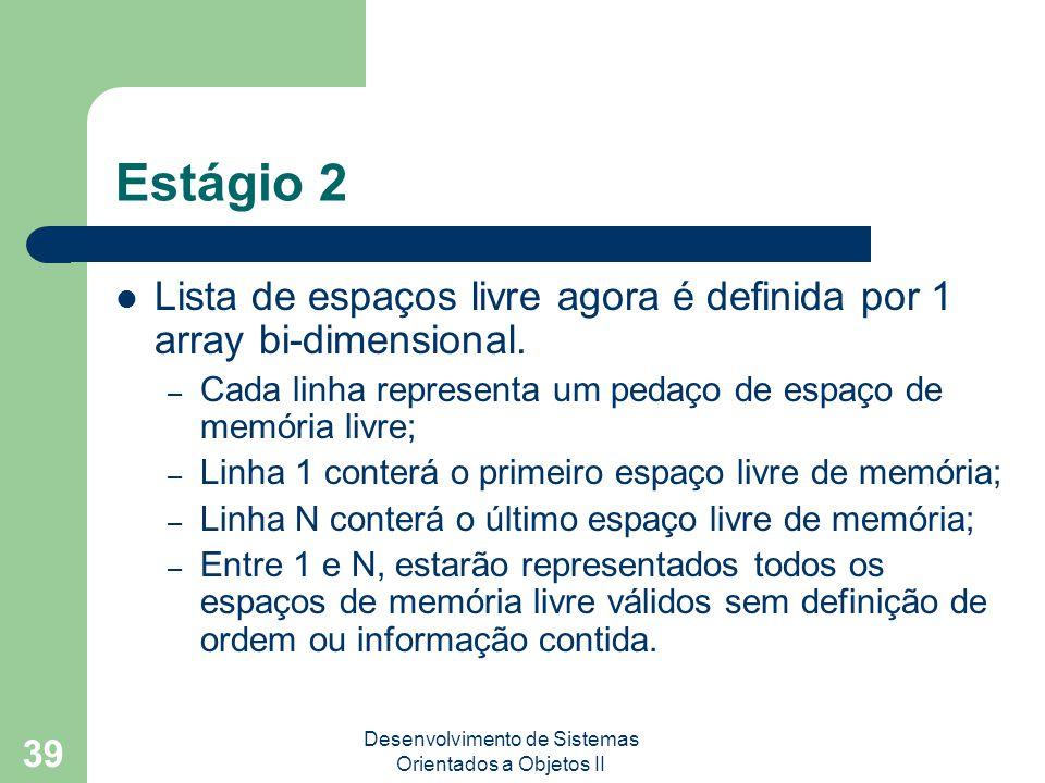 Desenvolvimento de Sistemas Orientados a Objetos II 39 Estágio 2 Lista de espaços livre agora é definida por 1 array bi-dimensional.