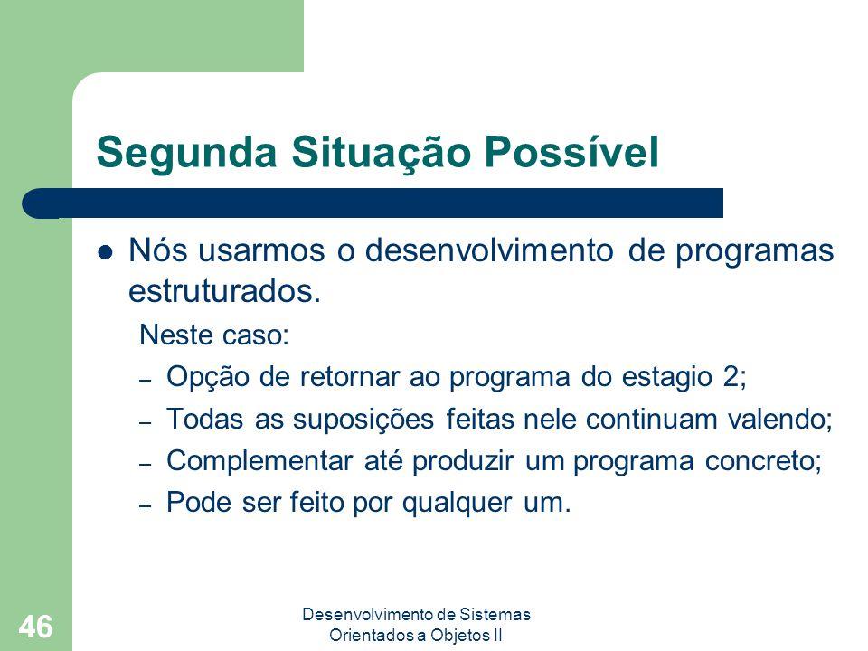 Desenvolvimento de Sistemas Orientados a Objetos II 46 Segunda Situação Possível Nós usarmos o desenvolvimento de programas estruturados.