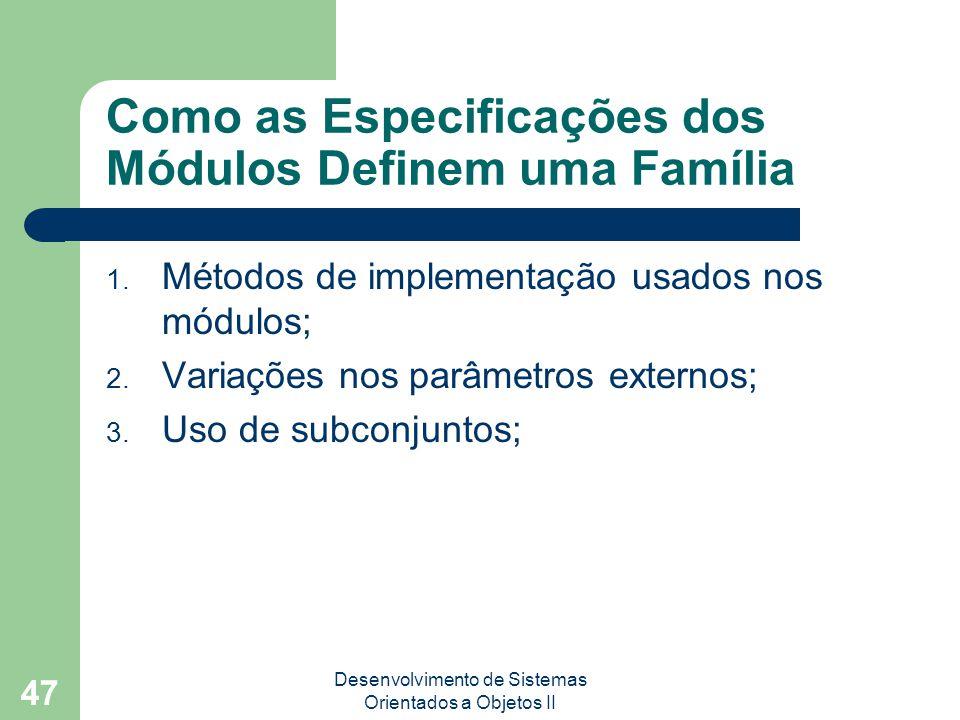Desenvolvimento de Sistemas Orientados a Objetos II 47 Como as Especificações dos Módulos Definem uma Família 1.