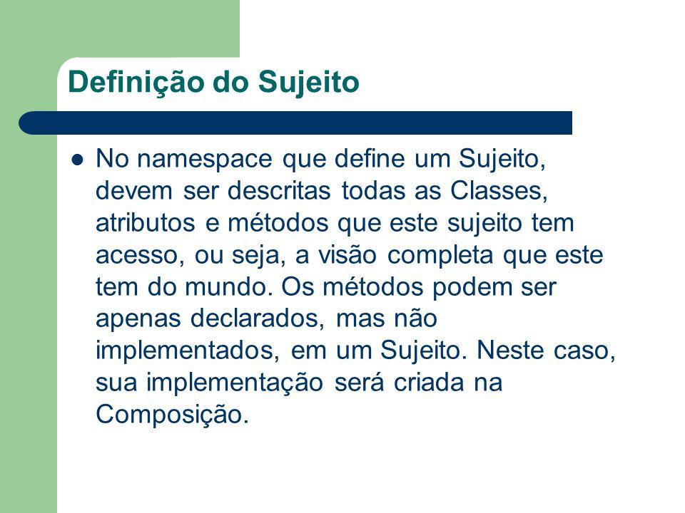 Definição do Sujeito No namespace que define um Sujeito, devem ser descritas todas as Classes, atributos e métodos que este sujeito tem acesso, ou seja, a visão completa que este tem do mundo.