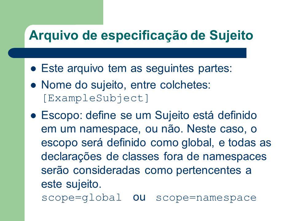 Arquivo de especificação de Sujeito Este arquivo tem as seguintes partes: Nome do sujeito, entre colchetes: [ExampleSubject] Escopo: define se um Sujeito está definido em um namespace, ou não.