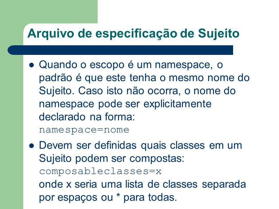Arquivo de especificação de Sujeito Quando o escopo é um namespace, o padrão é que este tenha o mesmo nome do Sujeito. Caso isto não ocorra, o nome do