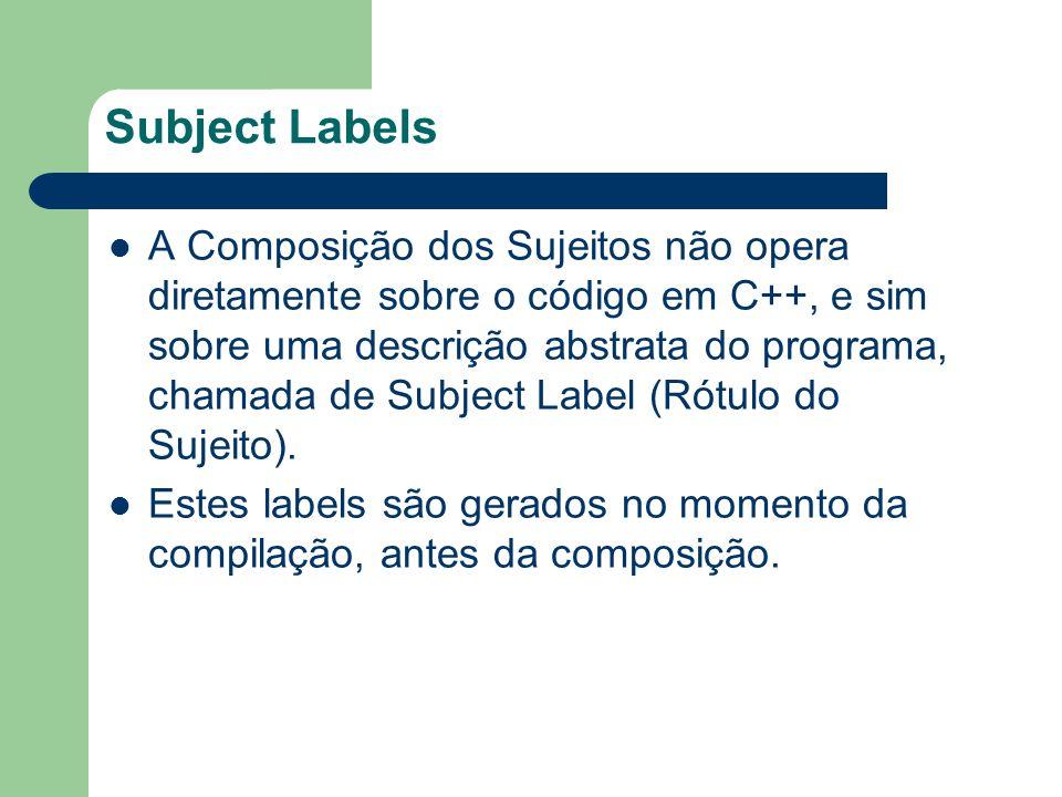 Subject Labels A Composição dos Sujeitos não opera diretamente sobre o código em C++, e sim sobre uma descrição abstrata do programa, chamada de Subject Label (Rótulo do Sujeito).