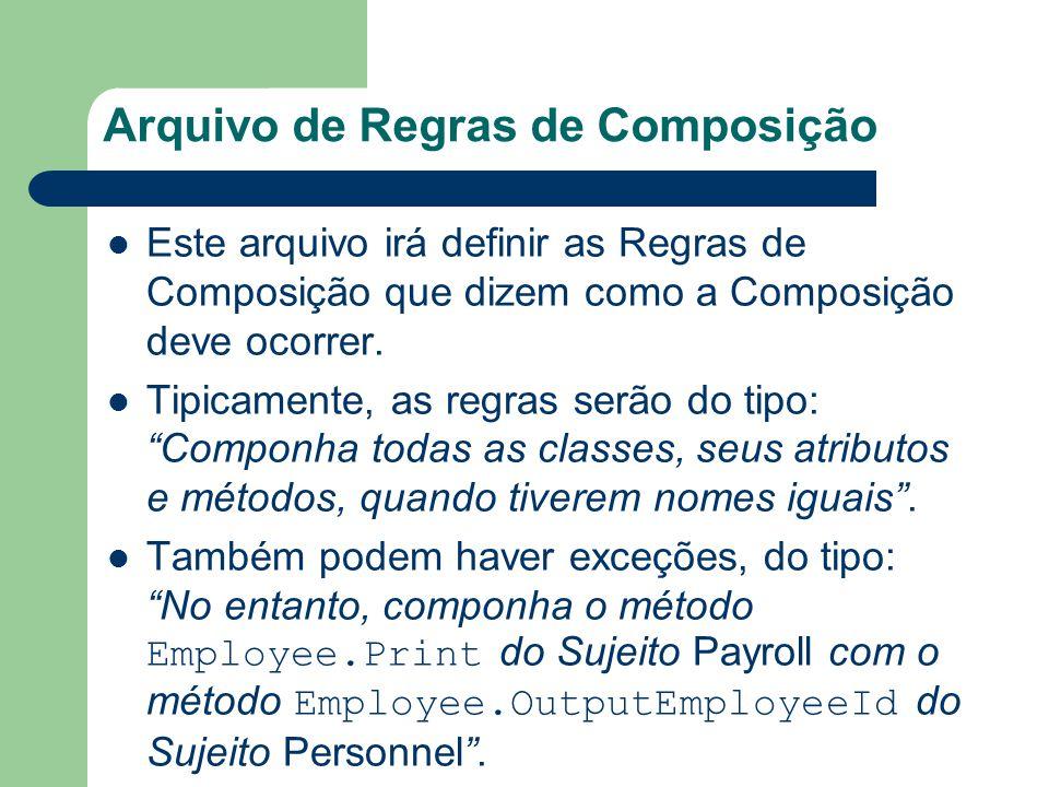Arquivo de Regras de Composição Este arquivo irá definir as Regras de Composição que dizem como a Composição deve ocorrer. Tipicamente, as regras serã