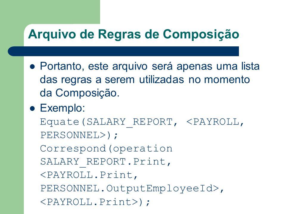Arquivo de Regras de Composição Portanto, este arquivo será apenas uma lista das regras a serem utilizadas no momento da Composição. Exemplo: Equate(S