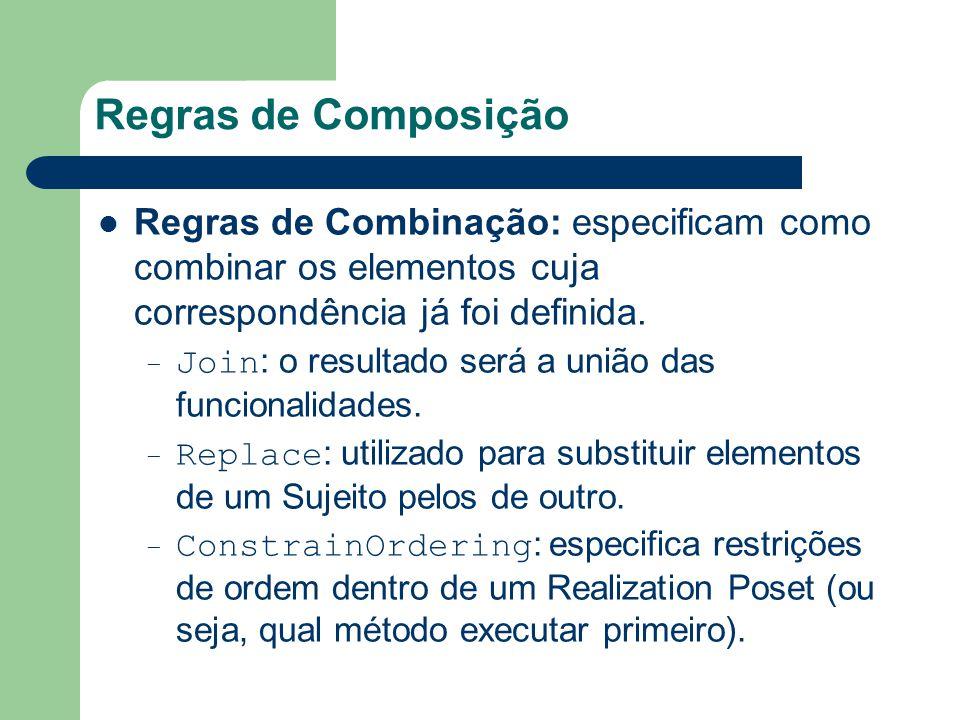 Regras de Composição Regras de Combinação: especificam como combinar os elementos cuja correspondência já foi definida. – Join : o resultado será a un