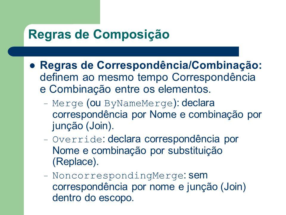 Regras de Composição Regras de Correspondência/Combinação: definem ao mesmo tempo Correspondência e Combinação entre os elementos. – Merge (ou ByNameM