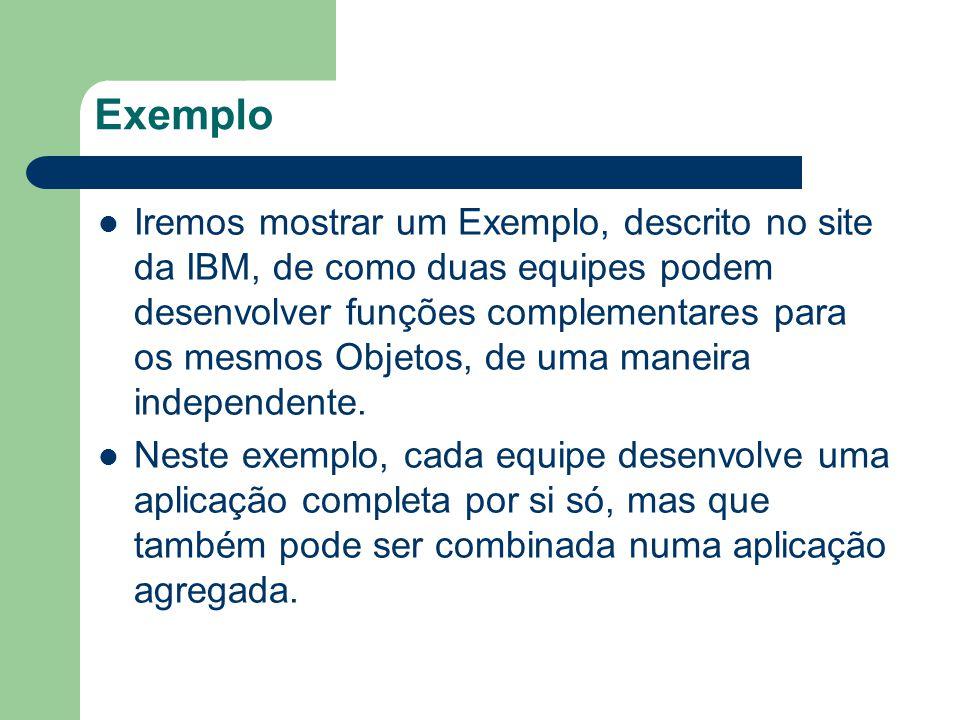 Exemplo Iremos mostrar um Exemplo, descrito no site da IBM, de como duas equipes podem desenvolver funções complementares para os mesmos Objetos, de u