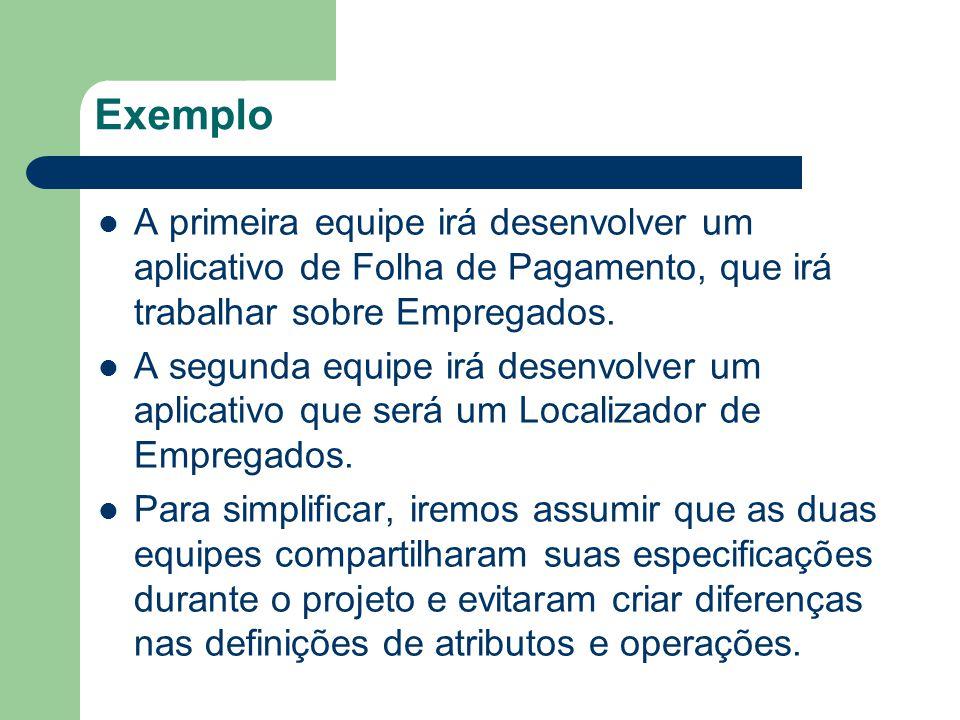 Exemplo A primeira equipe irá desenvolver um aplicativo de Folha de Pagamento, que irá trabalhar sobre Empregados. A segunda equipe irá desenvolver um