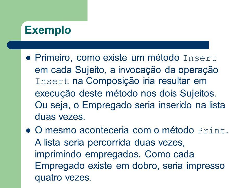 Exemplo Primeiro, como existe um método Insert em cada Sujeito, a invocação da operação Insert na Composição iria resultar em execução deste método no