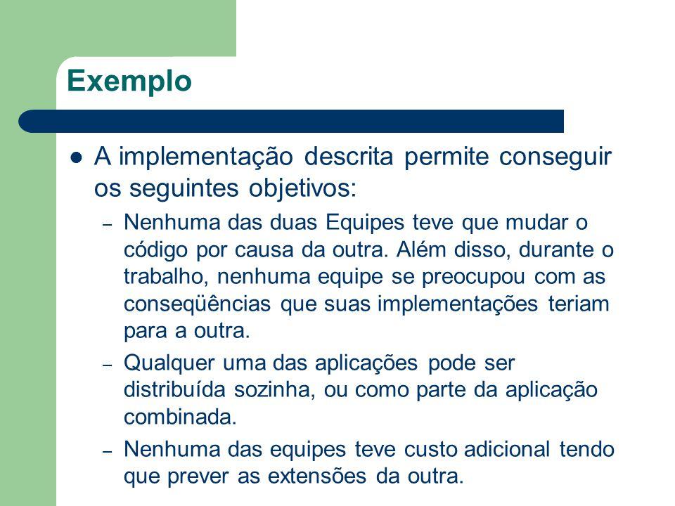Exemplo A implementação descrita permite conseguir os seguintes objetivos: – Nenhuma das duas Equipes teve que mudar o código por causa da outra. Além