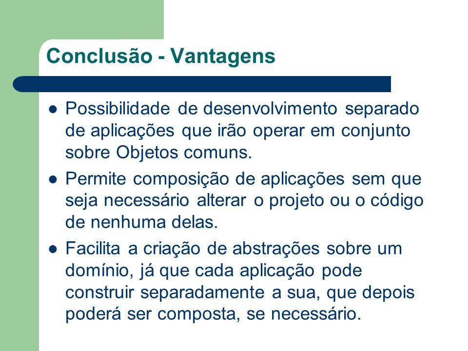 Conclusão - Vantagens Possibilidade de desenvolvimento separado de aplicações que irão operar em conjunto sobre Objetos comuns.