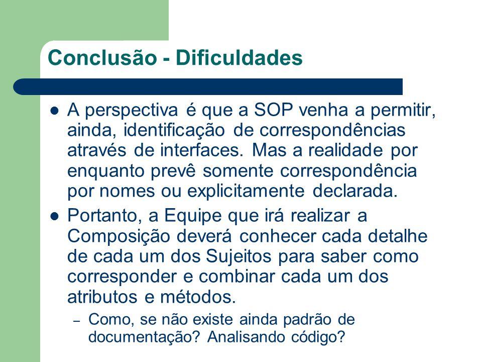 Conclusão - Dificuldades A perspectiva é que a SOP venha a permitir, ainda, identificação de correspondências através de interfaces.