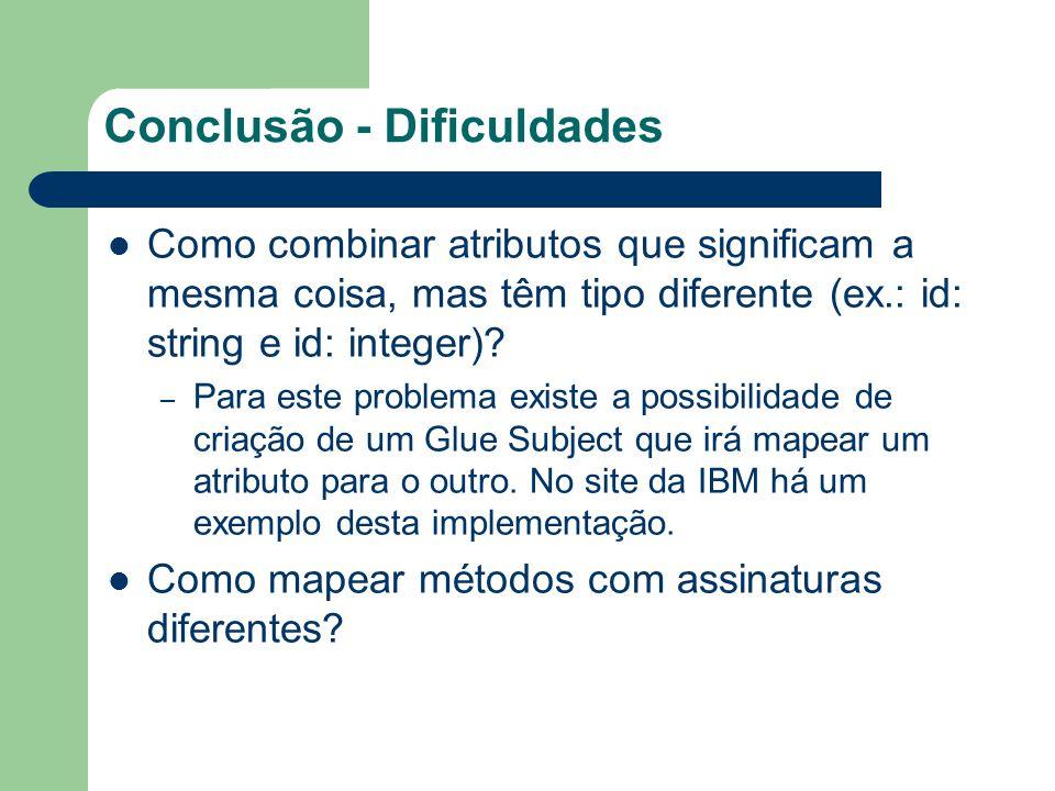 Conclusão - Dificuldades Como combinar atributos que significam a mesma coisa, mas têm tipo diferente (ex.: id: string e id: integer)? – Para este pro