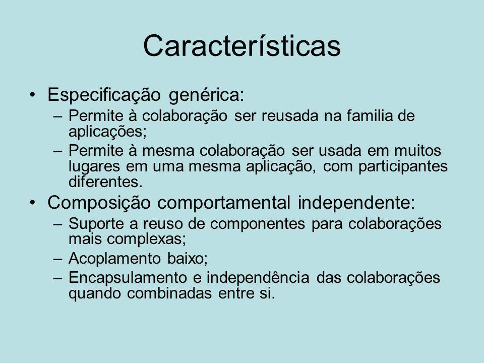 Características Especificação genérica: –Permite à colaboração ser reusada na familia de aplicações; –Permite à mesma colaboração ser usada em muitos