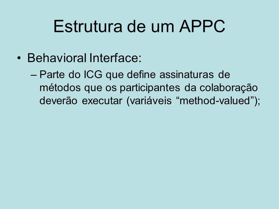 Estrutura de um APPC Behavioral Interface: –Parte do ICG que define assinaturas de métodos que os participantes da colaboração deverão executar (variá