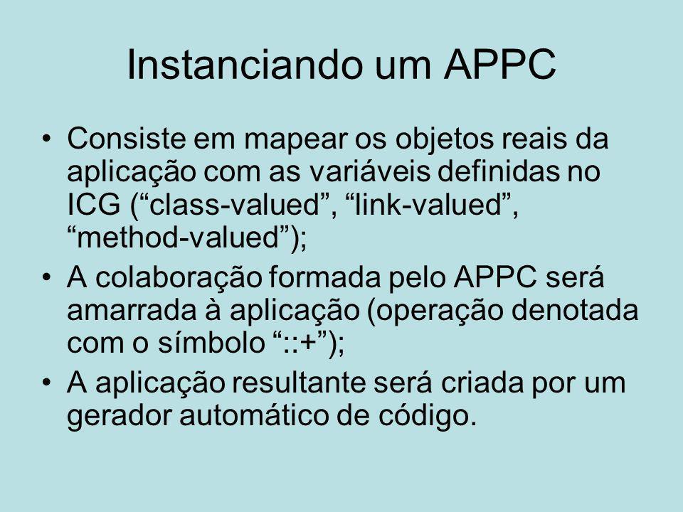 """Instanciando um APPC Consiste em mapear os objetos reais da aplicação com as variáveis definidas no ICG (""""class-valued"""", """"link-valued"""", """"method-valued"""