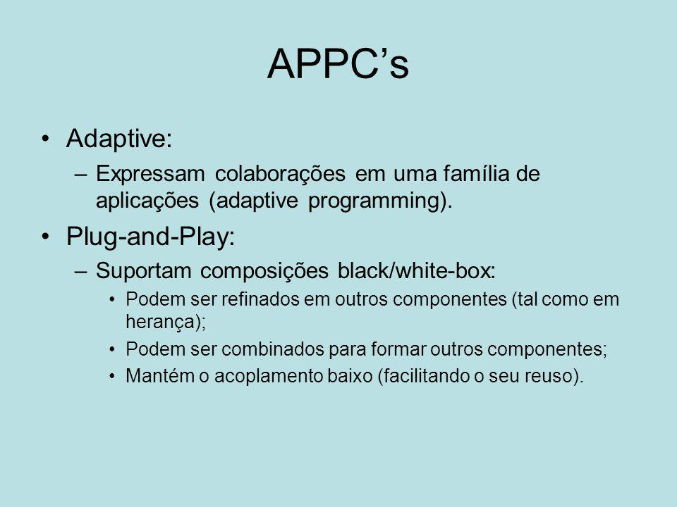 APPC's Adaptive: –Expressam colaborações em uma família de aplicações (adaptive programming). Plug-and-Play: –Suportam composições black/white-box: Po