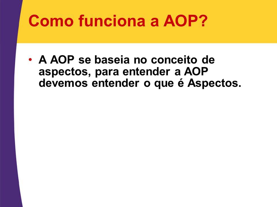 Como funciona a AOP? A AOP se baseia no conceito de aspectos, para entender a AOP devemos entender o que é Aspectos.
