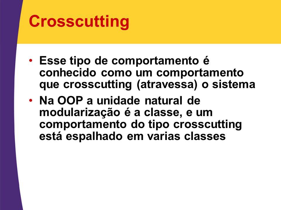 Crosscutting Esse tipo de comportamento é conhecido como um comportamento que crosscutting (atravessa) o sistema Na OOP a unidade natural de modulariz
