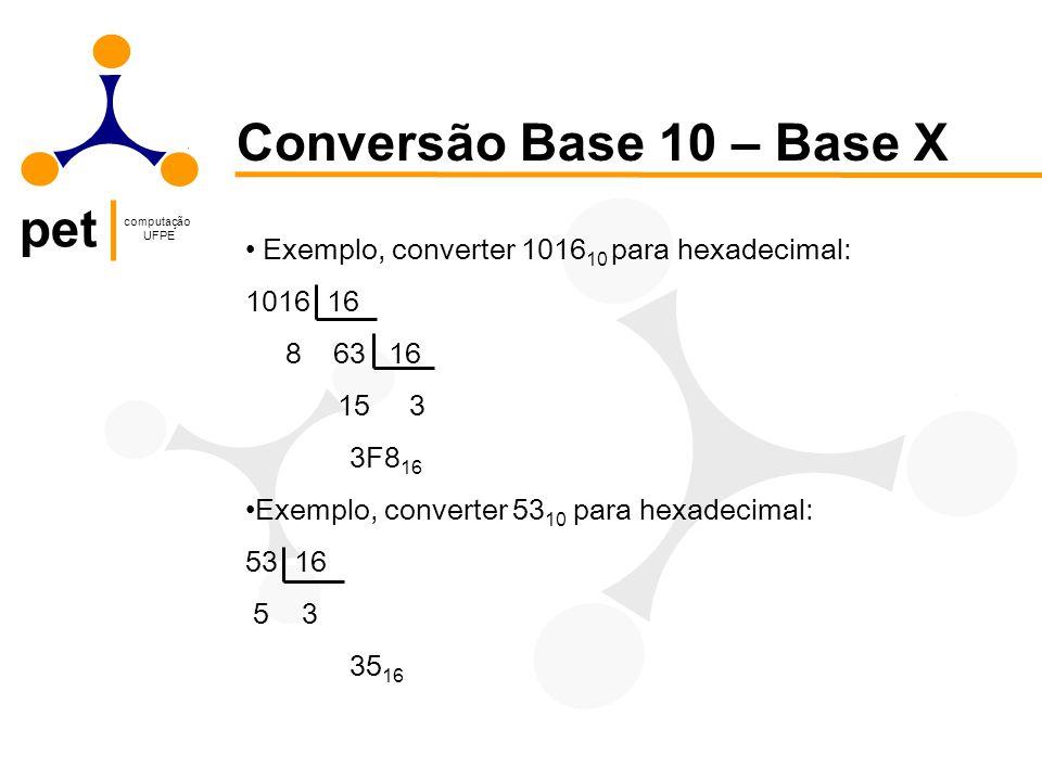 pet computação UFPE Conversão Base 10 – Base X Exemplo, converter 1016 10 para hexadecimal: 1016 16 8 63 16 15 3 3F8 16 Exemplo, converter 53 10 para