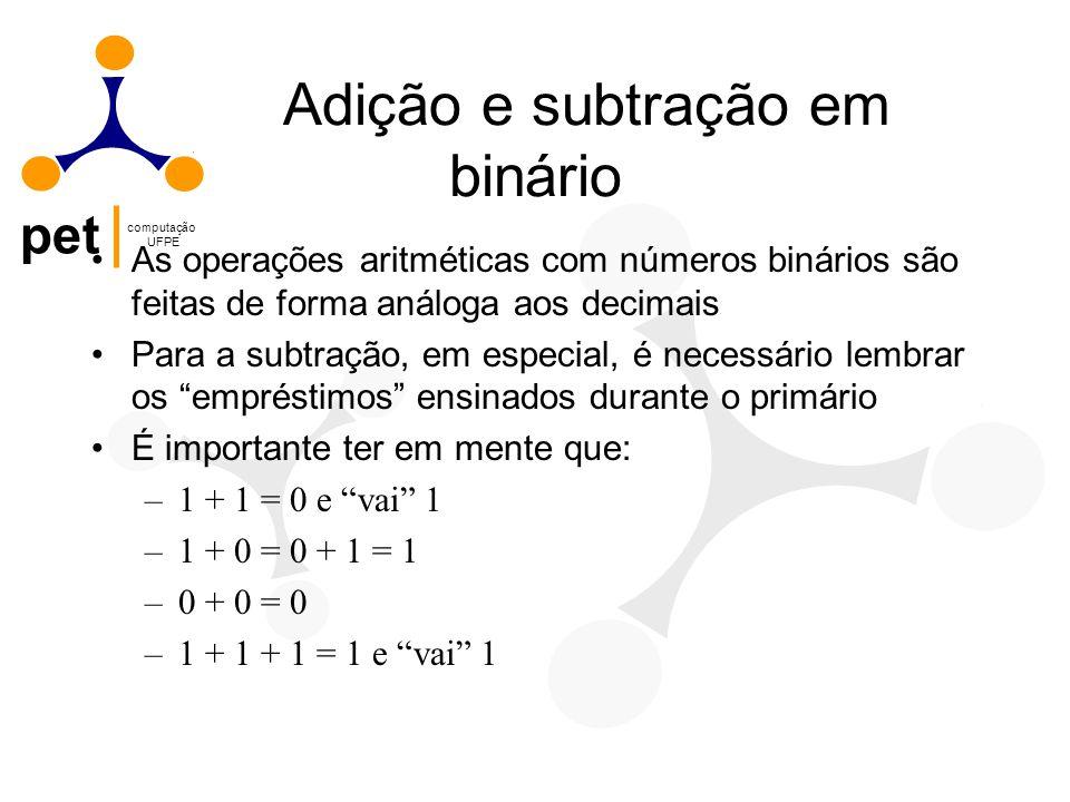 pet computação UFPE Adição e subtração em binário As operações aritméticas com números binários são feitas de forma análoga aos decimais Para a subtra