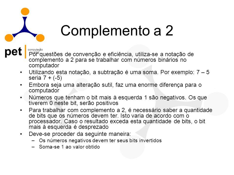 pet computação UFPE Complemento a 2 Por questões de convenção e eficiência, utiliza-se a notação de complemento a 2 para se trabalhar com números biná