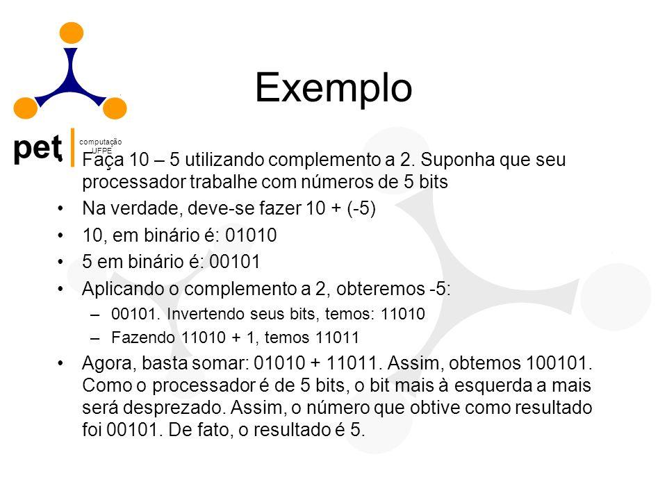pet computação UFPE Exemplo Faça 10 – 5 utilizando complemento a 2. Suponha que seu processador trabalhe com números de 5 bits Na verdade, deve-se faz