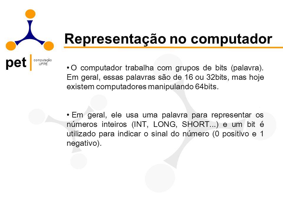pet computação UFPE Representação no computador O computador trabalha com grupos de bits (palavra). Em geral, essas palavras são de 16 ou 32bits, mas