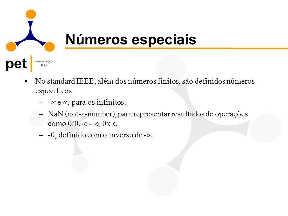 pet computação UFPE No standard IEEE, além dos números finitos, são definidos números específicos: –-  e , para os infinitos. –NaN (not-a-number), p
