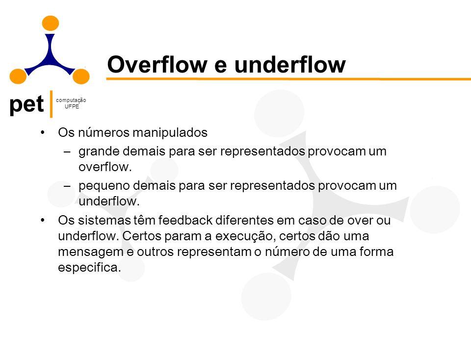 pet computação UFPE Os números manipulados –grande demais para ser representados provocam um overflow. –pequeno demais para ser representados provocam