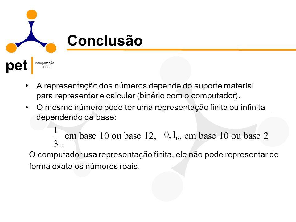 pet computação UFPE A representação dos números depende do suporte material para representar e calcular (binário com o computador). O mesmo número pod