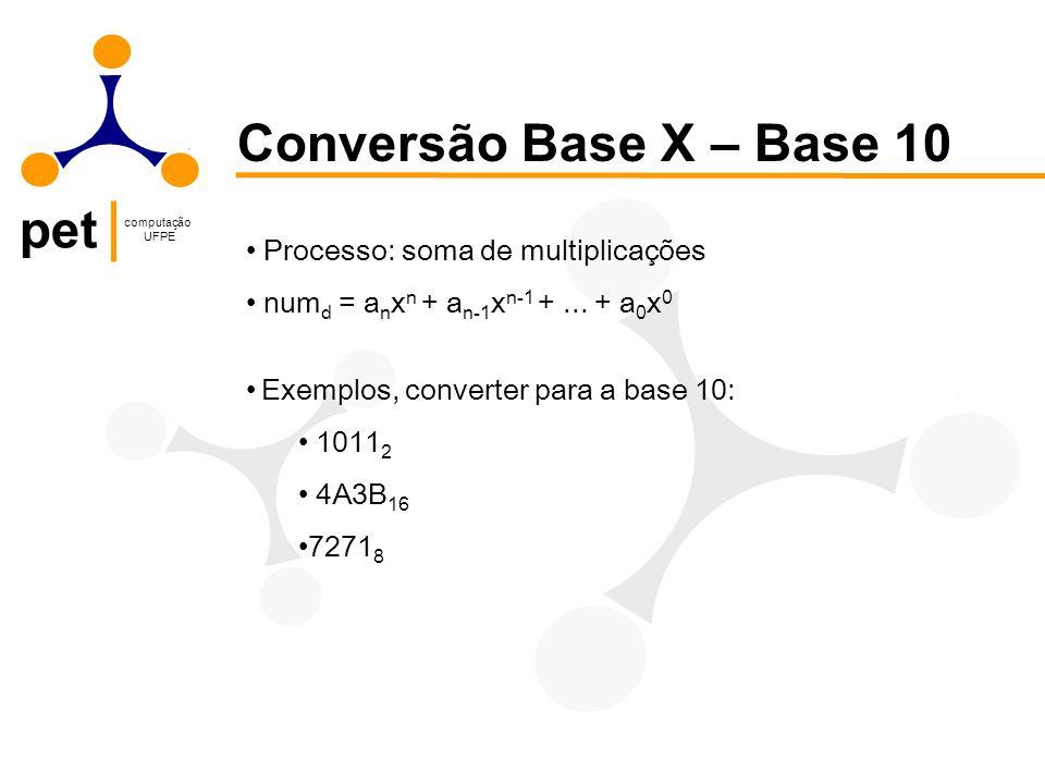 pet computação UFPE Conversão Base X – Base 10 Processo: soma de multiplicações num d = a n x n + a n-1 x n-1 +... + a 0 x 0 Exemplos, converter para