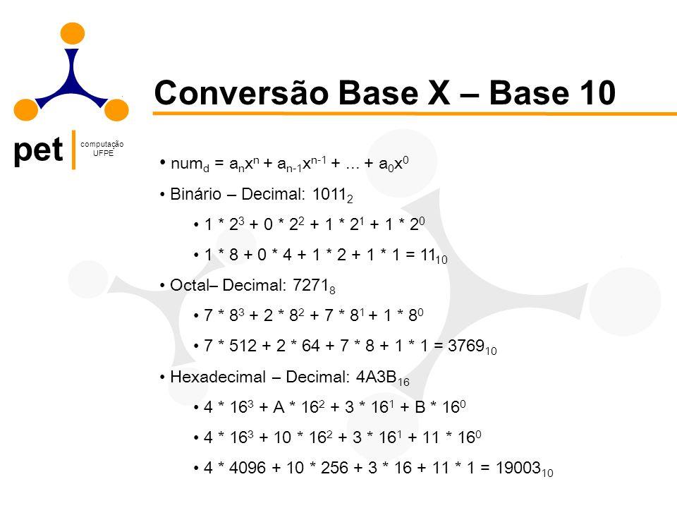 pet computação UFPE Conversão Base X – Base 10 num d = a n x n + a n-1 x n-1 +... + a 0 x 0 Binário – Decimal: 1011 2 1 * 2 3 + 0 * 2 2 + 1 * 2 1 + 1