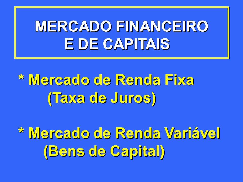 MERCADO FINANCEIRO E DE CAPITAIS * Mercado de Renda Fixa (Taxa de Juros) * Mercado de Renda Variável (Bens de Capital) MERCADO FINANCEIRO E DE CAPITAI