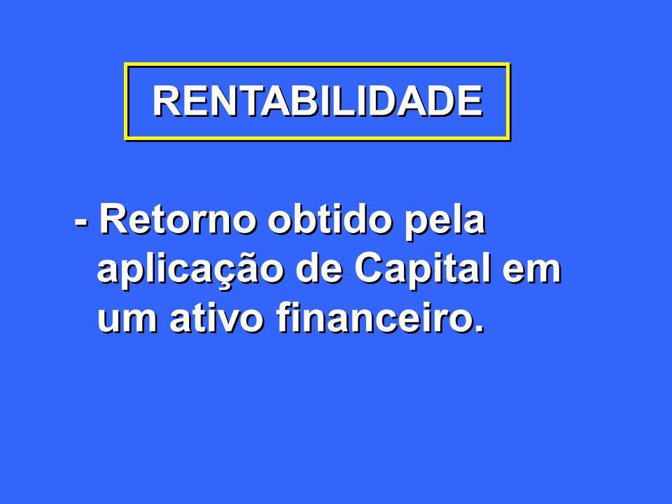 RENTABILIDADE - Retorno obtido pela aplicação de Capital em um ativo financeiro. - Retorno obtido pela aplicação de Capital em um ativo financeiro.